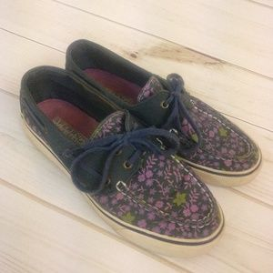 Sperry Top-Sider Floral Navy & Purple Boat Shoes